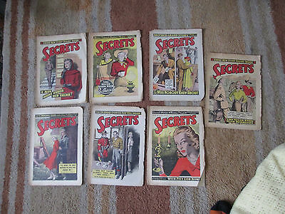 Bundle, Lot of 7 vintage SECRETS Magazine / Comic from 1949 - Romance Stories