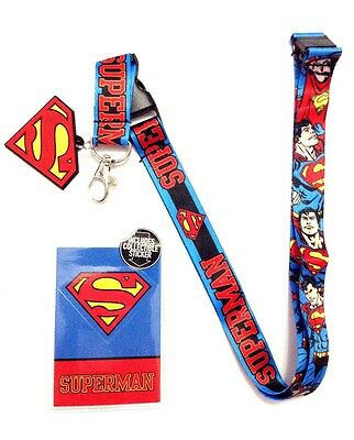 Dc Comics Superman Logo Sublimated Character Lanyard Badge Id Holder Keychain