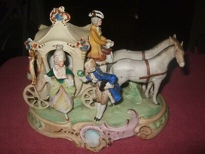 Vintage Germany Porcelain Horse and Carriage w/Horseman & Lady Figurine