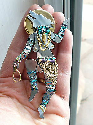 1993 LIZTECH pin brooch exotic Dancing Wolf-Woman signed and gold hang tag
