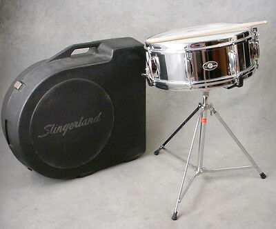 Vintage Slingerland Cos Chrome Snare Drum, Case & Stand! Excellent!!