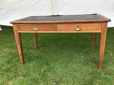 "Large 53"" Long Light Oak Antique Desk With Drawers And Leather Style Top"