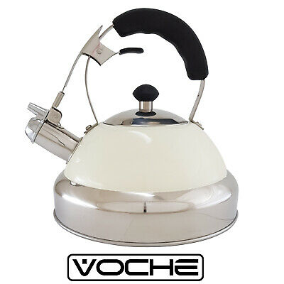 VOCHE® BLACK 3.5L STAINLESS STEEL WHISTLING KETTLE FOR GAS ELECTRIC HOBS CAMPING