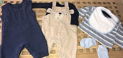Baby Boys Clothing  Gift Bundle 0-3 , Knitted Suits , Dungarees Vests Tees Mits