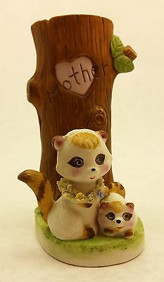 "1979 ENESCO Raccoons in front of tree ""Mother"" heart vase Mothers Day"