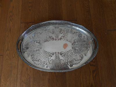 Large Silver Plate On Copper Serving Tray With Feet