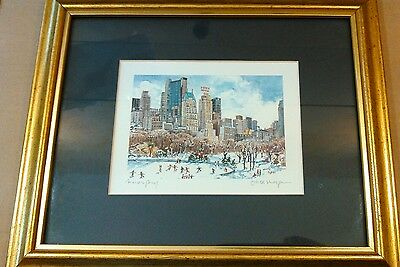 New York CENTRAL Park south skyline Framed proof reproduction watercolor #134 bg