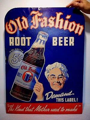 VINTAGE - 1930's Ma's Old Fashion Root Beer Soda Advertising Sign.