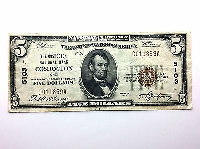 1929 United States Five 5 Dollar Coshocton Ohio C Series National Bank Note A835