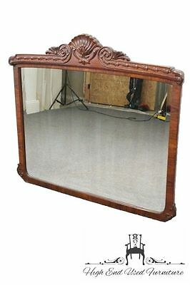 """Antique Louis XVI French Style Carved Shell & Bellflowers 46"""" Mirror"""