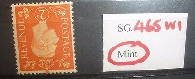 KGV1, SG 465 Wi , 2D ORANGE, MINT, C/VALUE £60.