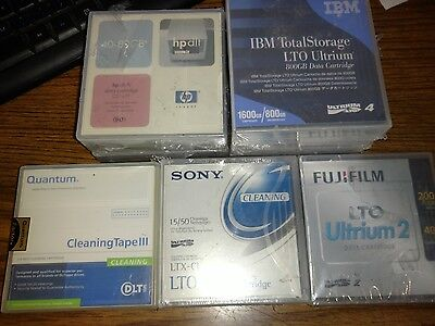 Lot of 8 Tape Catridges -HP DLT- IBM Total Storage 1600gb/800gb Sony Cleaner #A5