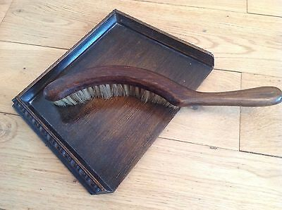 Antique Victorian Wooden Crumb Collector Tray and Half-Moon Shaped Brush