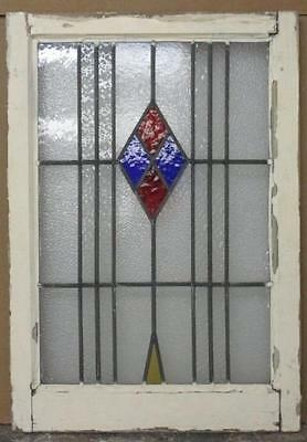 """MID SIZED OLD ENGLISH LEADED STAINED GLASS WINDOW Pretty Abstract 20.25""""x29.25"""""""