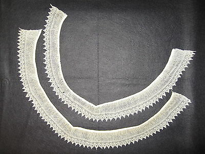 """LP16 Antique 2pc Crochet Lace Fashion Dress Collar Doll Hat Country Crafts 24X2"""""""