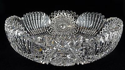 American Brilliant Period ABP Cut Glass Low Bowl - Large Hobstar