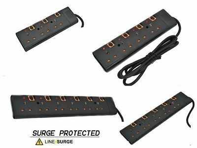 Surge Protected With Switch Extension Lead 2/5M Cable 3 4 5 6 Way Plugs In Black