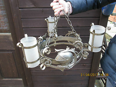 Medieval Knight Vintage Chandelier 3 Lights On Hanging Chains