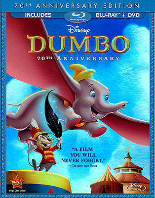 Dumbo (Blu-ray/DVD, 2011, 2-Disc Set, 70th Anniversary Edition) Excellent Cond
