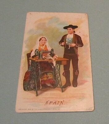 1892 Singer Sewing Machine Company Salamanca Leon Spain Victorian Trade Card