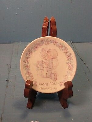 Vintage 1989 Precious Moments Happy 25th Anniversary Small Plate Wedding W/STAND