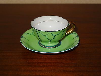 Vintage Japan Small Tea Cup & Saucer  Green/gold/white