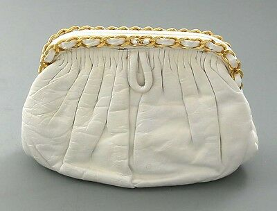 Vintage CHANEL White Lambskin Shoulder and Clutch Purse