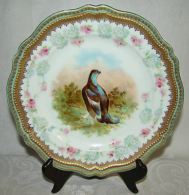 Antique O&EG Royal Austria Ornately Decorated Gold Gilt Bird Cabinet Plate # 1