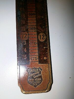 Vintage Brass Turtle's New York Standard Gauge Printers 12 PT Inches Agate Tool