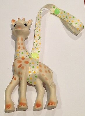 GREEN + YELLOW Toy Saver strap/sitter/harness for Sophie the giraffe or toys