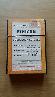 One box of vintage   Ethicon emergency suture tubes 1953