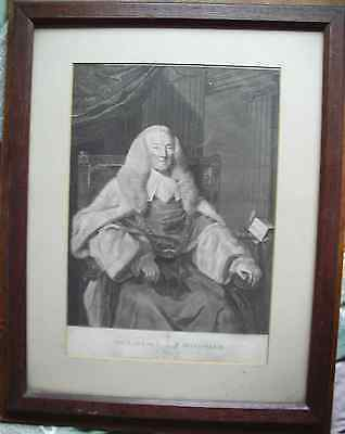 Framed 1780s original etching Bartolozzi Earl of Mansfield Sir Joshua Reynolds