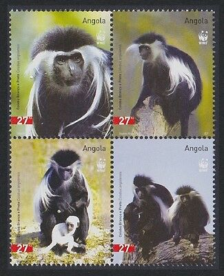 SALE Angola WWF Black-and-white Colobus 4v in block 2*2 SG#1717/20 SC#1279 a-d