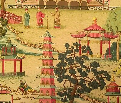 MANUEL CANOVAS Pagoda Rose Chinoiserie Cotton Remnant New