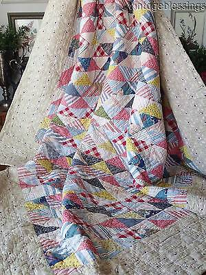 """ANTIQUE c1880 Crib QUILT 60x57"""" Beautiful Blue Floral on Black Backing"""