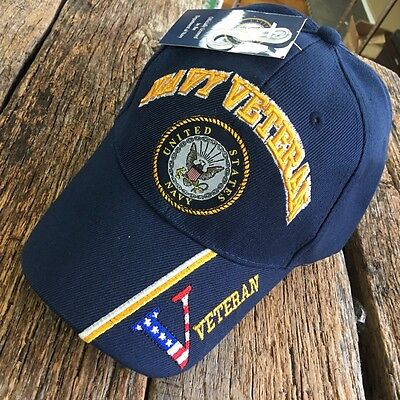 BLUE US Navy VETERAN LICENESED Embroidered Ball Cap Baseball Cap Hat U.S.Navy-M