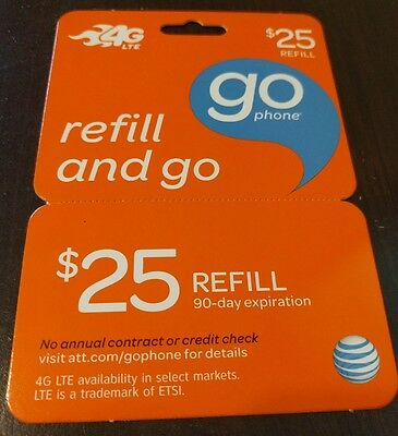 AT&T go phone $25 Refill card