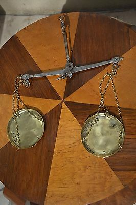 Antique apothecary mercantile brass and iron coin weight hanging scale MARKED