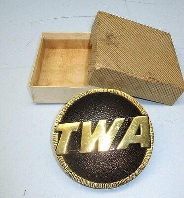 "Vintage Solid Brass TWA Ashtray w/Original Box, 3-5/8"" diameter, 9-1/2 ounces"