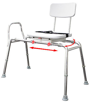 77662 - Eagle Health Snap-N-Save Sliding Transfer Bench with Swivel Seat and Bac