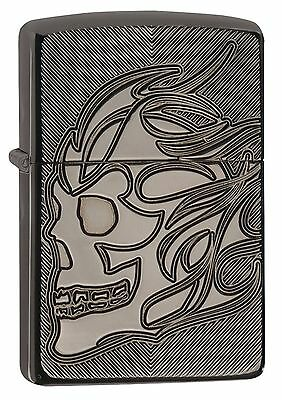 Zippo Lighter: Armor, Deep Carved Skull - Black Ice 29230