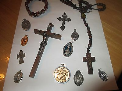Vintage Religious lot Rosary beads metals charms wooden cross lot