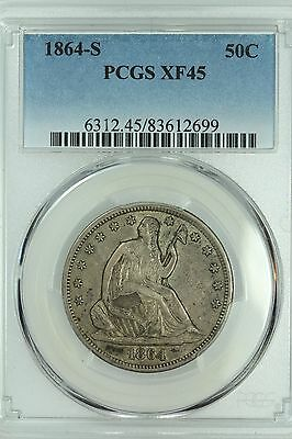 1864 S Seated Half Dollar! Pcgs Xf45! 50C! Us Coin Lot #3338