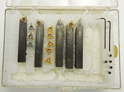 """5 PC 3/8"""" Indexable Carbide Insert Lathe Tool Bits with extra inserts"""