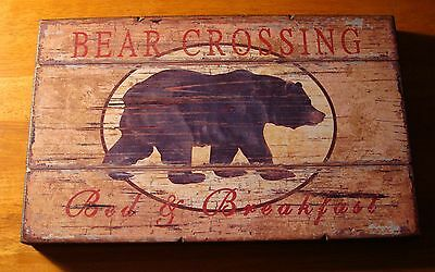 RUSTIC BEAR CROSSING WOOD LODGE CABIN BED & BREAKFAST SIGN Wall Home Decor NEW