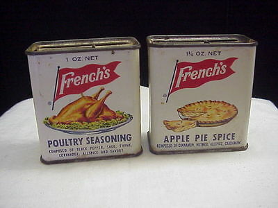 2 Old Vintage French's Spice Tins, Poultry Seasoning and Apple Pie Spice