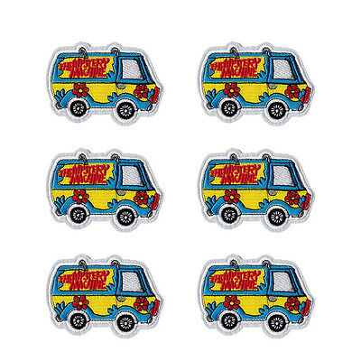 6pcs MYSTERY MACHINE SCOOBY DOO KIDS CARTOON EMBROIDERED IRON ON PATCH PATCHES