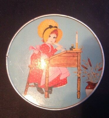 Vintage Folding Compact Mirror - Blue Background With cute Little Girl