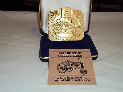 "John Deere ""A"" Tractor Gold Plated Belt Buckle - Limited Edition"