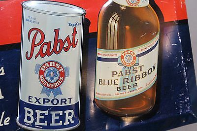 SCARCE 1934 PABST BEER TapaCan EMBOSSED METAL SIGN MILWAUKEE MILLER BOTTLE CAN